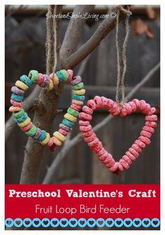 Preschool Crafts idea: Fruit Loop Heart Bird Feeder