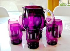 Vintage Purple Glass Pitcher and 8 Glasses