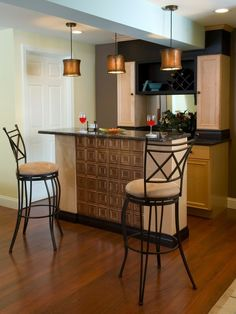 Home Bar - would be great if it had castors on it to make it moveable and also if the front was copper or stainless steel tiles.