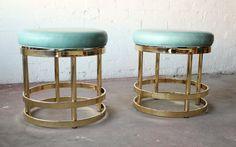 Sea foam leather + brass swivel stools