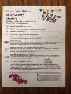 ~Relief Society Corner: January Relief Society Meeting