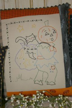 Letting cat outta bag embroidery E Pattern - halloween pumpkin man stitchery black cat vintage like primitive