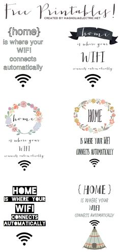 """Free printable quote wall art: """"home is where your wifi connects automatically"""" 