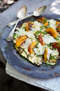 grilled summer squash & peach salad with manchego & white truffle | by roost