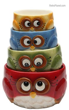 owl measuring cups owl measur, measur cup, kitchen dining, home kitchens, cosmos gift, cup set, measuring cups, owl design, owls