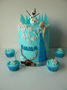 frozen cake and cupcakes, elsa, olaf, sven