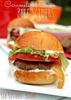 These Caramelized Onion Beef Sliders are the perfect food for you tailgate party. (The best part is... the onions are caramelized in the slow cooker!)  Recipe from Sixsistersstuff.com
