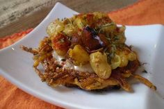 Recipe: Sweet Potato Latkes with Chutney Sour Cream and Curried Onion-Apple-White Bean Topping - vegan