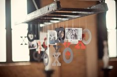 modern valentine's table via ruffled engag parti, idea, engagement parties, hang decor, ladders, hang ladder, valentin, display photo, diy