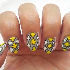 Yellow ikat nail designs