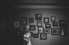 bridal portrait at home in front of a gallery wall | Yellow + Grey Wedding At Home | Chantal Marie Photography | Oh Lovely Day