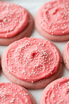Strawberry Sugar Cookie recipe. These are like strawberry cake but in sugar cookie form!