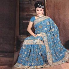 Lovely embroidered chiffon saree.