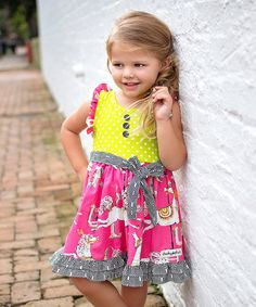 This Pink & Lime Green Pony Dress - Infant, Toddler & Girls by Cheeky Plum is perfect! #zulilyfinds