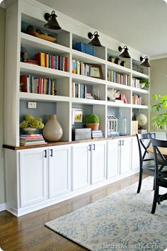 the office, office dining room, builtin, bookcas, shelv, office in dining room, dining room built in, light