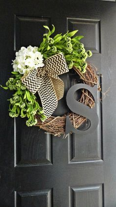 Spring and Summer Wildflower, Hydrangea, and Gray Chevron Burlap Wreath Withâ?¦