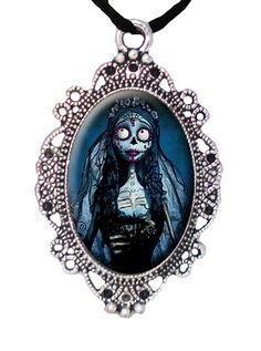 """Sugar Skull Corpse Bride"" Cameo by Alkemie Apparel #InkedShop #cameo #corpsebride #necklace #style #fashion #jewelry"