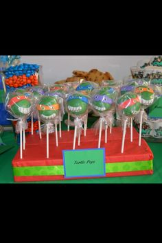 Ninja Turtle Cake Pops! For the sweets bar!