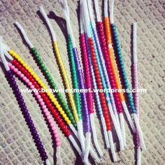 """Get to know you game! Each child gets one pipecleaner filled with beads of one color(to give to others) and one empty pipecleaner (to hold beads they collect for themselves).To get a bead they have to go to another child and say """"Hi, my name is ____"""".Afterwards they can make their bracelets."""