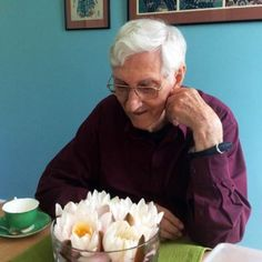 Urgyen Sangharakshita with water lily flowers... Happy 89th Birthday!