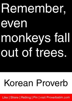 Remember, even monkeys fall out of trees. - Korean Proverb #proverbs #quotes