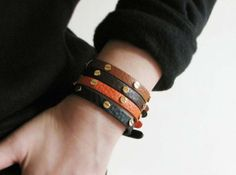 gold stud leather wrap bracelet-leather wristband for women