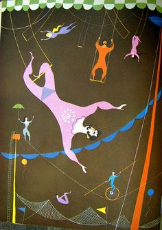 Man on the Flying Trapeze: From the Fireside Book of Favorite American Songs, 1952. Illustrated by Aurelius Battaglia.