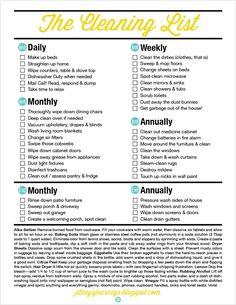 daily/weekly/monthly cleaning checklist.