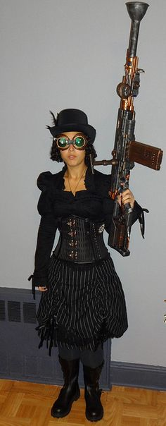 Steampunk - Repainted Nerf Gun. Spin Doctor Top & Skirt. (Upside down) corset. House of Andar boots.