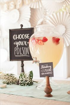 Choose your poison sign at vintage inspired wedding with a heart touching story. Captured By: I Heart Weddings #weddingchicks http://www.weddingchicks.com/2014/07/10/australian-wedding-with-a-heart-touching-story/