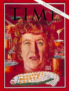 Julia Child, Nov. 25, 1966  Love those copper pans and the molded fish!