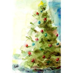 Original Watercolor Christmas Tree Matted 8x10