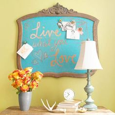 Old mirror and frame painted with magnetic paint and then chalk paint. Cute!