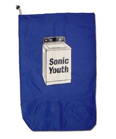 """Yes, that's a laundry bag with the cover art from SY's """"Washing Machine."""" #opticalpun"""
