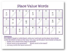 This is another great activity to combine math and word work!I pair this sheet with a baggie of place value blocks in ones, tens