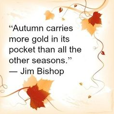 """""""Autumn carries more gold in its pocket than all the other season."""" - Jim Bishop"""
