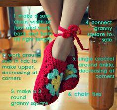 Crochet Ballet Slippers - Tutorial ❥ 4U // hf