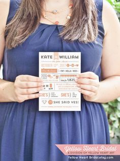 cute customizable infographic save the dates, i love how you can let your guests now some fun facts about you 2!