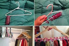 Hang scarves with shower curtain rings. Definitely doing this!!!