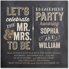 Celebrate your engagement with friends and family! This font focused engagement party invite is a fun way to kick off the celebrations!