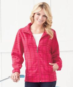 Get ready for the crisp autumn weather with the  Women's Plaid Fleece Jacket. #fall