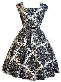 Lady Vintage 50s Retro BLACK & BEIGE DAMASK PRINT Swing Rockabilly