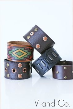We love these DIY leather cuff bracelets (because they're made from old belts!)