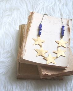 Hammered Golden Brass Star & Cobalt Blue Jade Necklace- Destino, by EclecticOrchid, $39.00