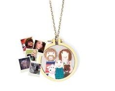 Embroidered custom portrait necklace