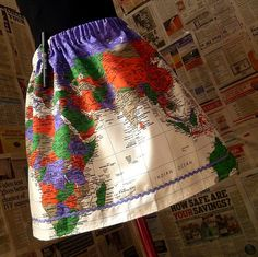 Map Of The World Skirt, Quirky Skirts From ROOBYS. - you can even PLOT YOUR TRAVELS ON THE SKIRT!!