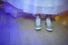 "Sneakers with ""bling"" go nicely with this Bat Mitzvah girls gown!"