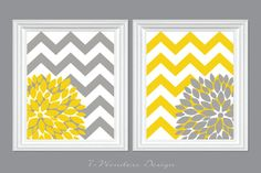 """Flower Bursts with Chevron Zig Zags Modern Home Wall Art - Set of (2) 8"""" x 10"""" -  Yellow and Grey // Bedroom, Living Room, Bathroom Decor on Etsy, $28.00"""