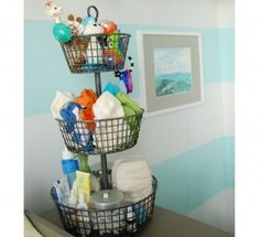 6 Ways To Organize Your Diapers | Disney Baby. Love this for babies room - all stuff in one area !