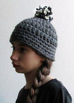 YETI Grey pom pom beanie Chunky hat
